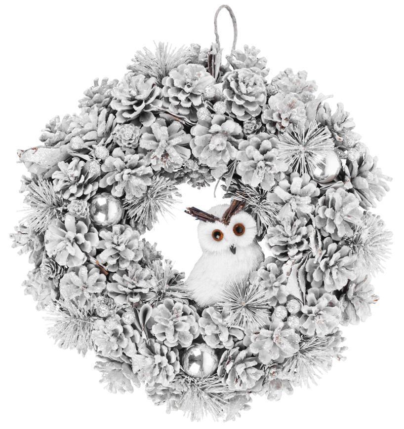 Veniec MagicHome Vianoce, so sovou, zasnežený, závesný, 40x40x12 cm