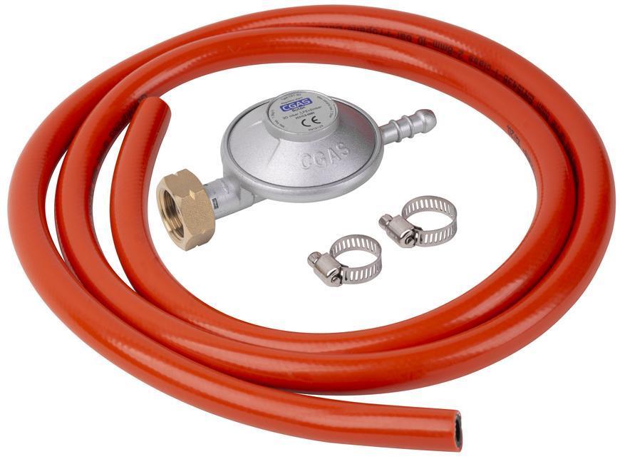 Regulátor plynu C31-30, 28-30 mbar, UK8 mm, EN16129, 2x spona, hadica 1,5 m