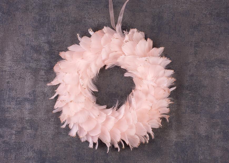 Veniec páperový MagicHome, ružový, 35 cm, závesný
