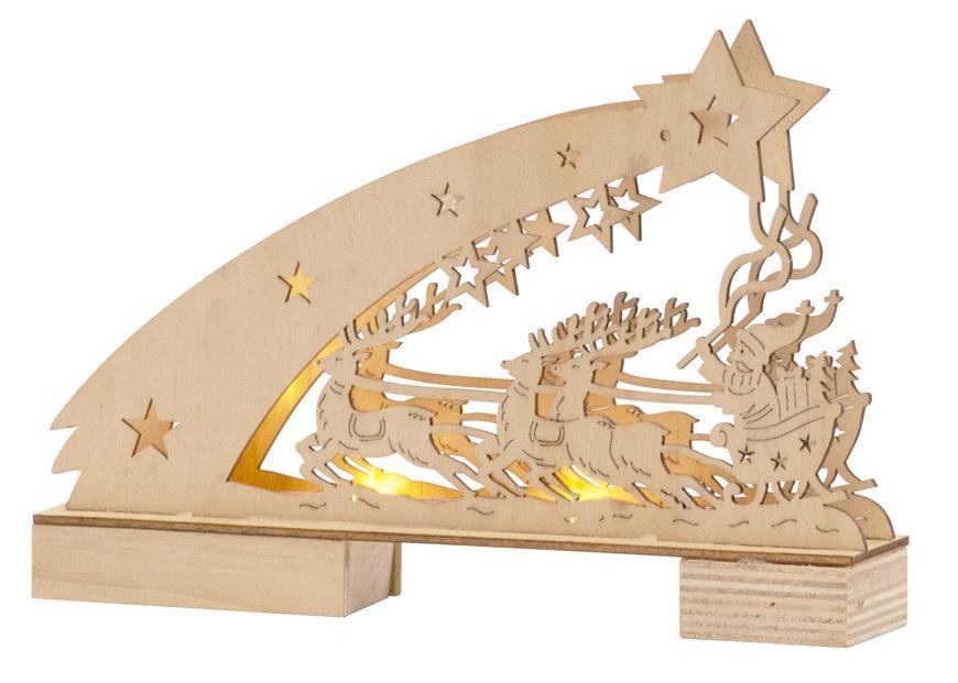 Dekorácia MagicHome Vianoce Woodeco, Servitník so Santom, 5 LED, 22x5x15 cm