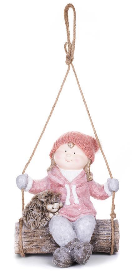 Postavička MagicHome Vianoce, Dievčatko na hojdačke s ježkom, závesná, keramika, 31,5x28x36 cm