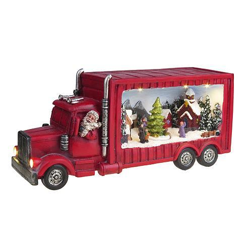 Dekorácia MagicHome Vianoce, Vianočný kamión, 6 LED biela, polyresin, 3xAA, interiér, 33x10x15 cm
