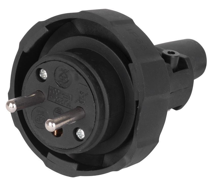 Vidlica do zásuvky EMOS EM-GRC-02, IP65, guma, čierna