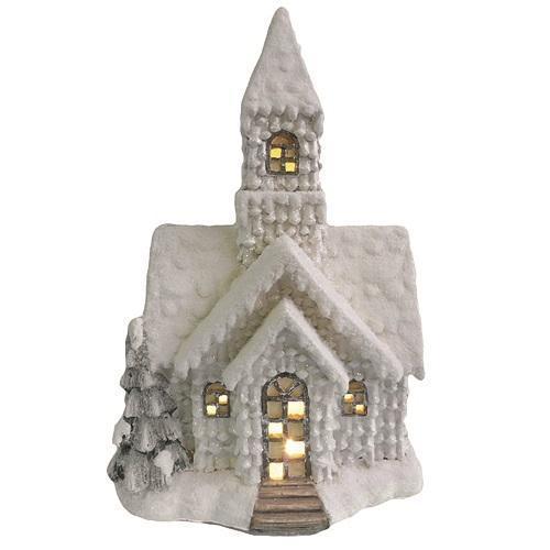 Dekorácia MagicHome Vianoce, Kostol, 10 LED žltá, keramika, 3xAAA, interiér,  36x22x52 cm