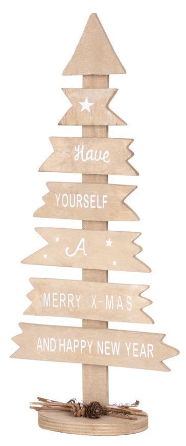 Dekorácia MagicHome Vianoce Woodeco, Strom s tabuľkami, bal. 2 ks, 40x17 cm