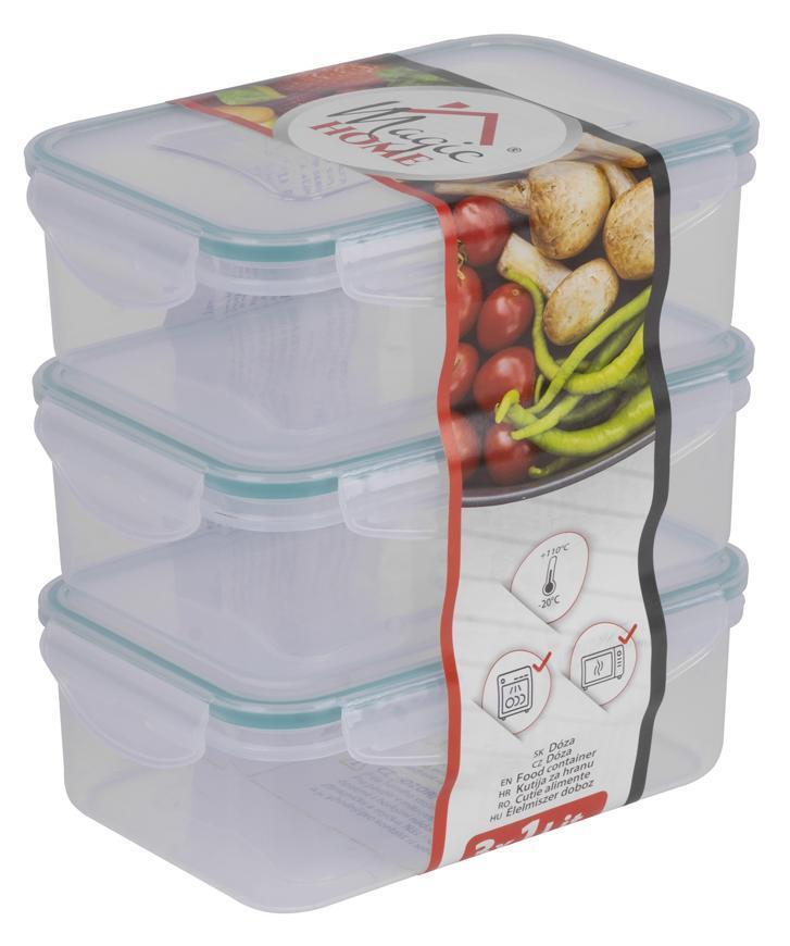 Doza MagicHome Lunchbox E810x3 1,0 lit, obdĺžniková, klip, PP, sada 3 ks, Clip