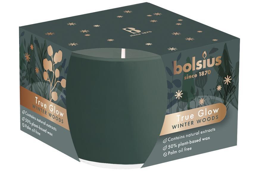Sviečka Bolsius True Glow, v skle, rastlinný vosk, vôňa zimnej dreviny, 24 hod., 63x90 mm