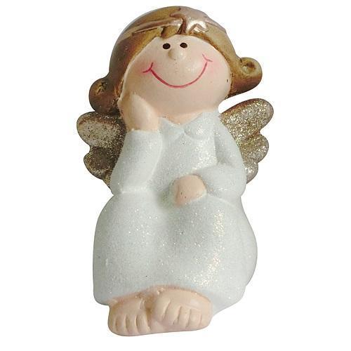 Postavicka Xecco 12652, Anjel sediaci, polyresin, 11 cm