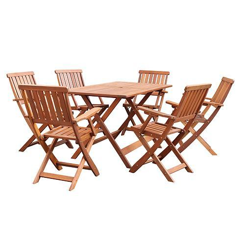 Set LEQ MARIBO, terasový, drevený, 1+6
