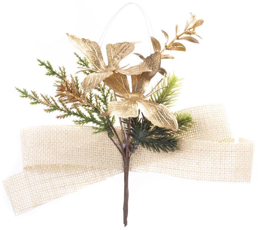 Vetvička MagicHome Vianoce, s motýlmi a jutovou stuhou, zlatá, 19 cm, bal. 6 ks