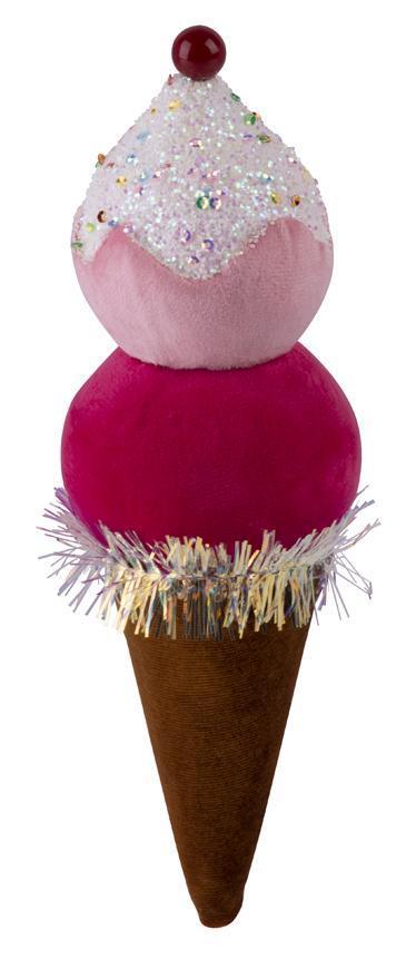 Dekorácia MagicHome Candy Line, zmrzlina, červená, 16 cm, závesná