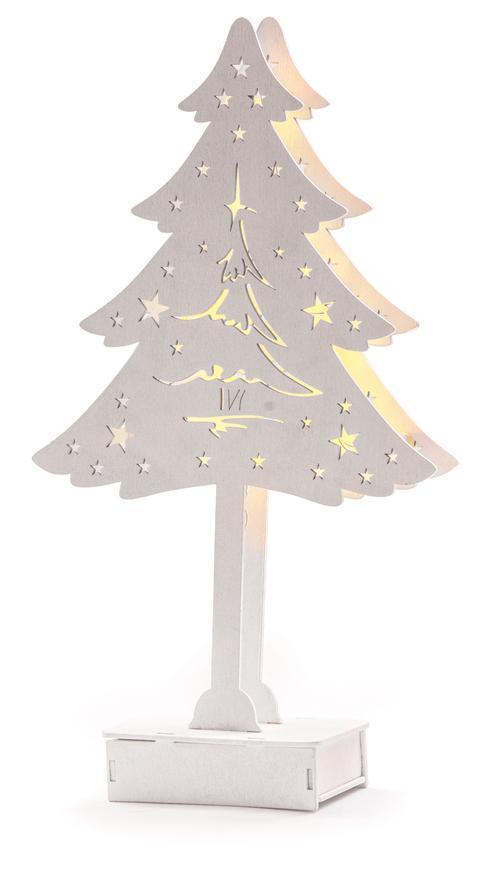 Dekorácia MagicHome Vianoce Woodeco, Stromček s podestou, 8 LED, 22x38 cm