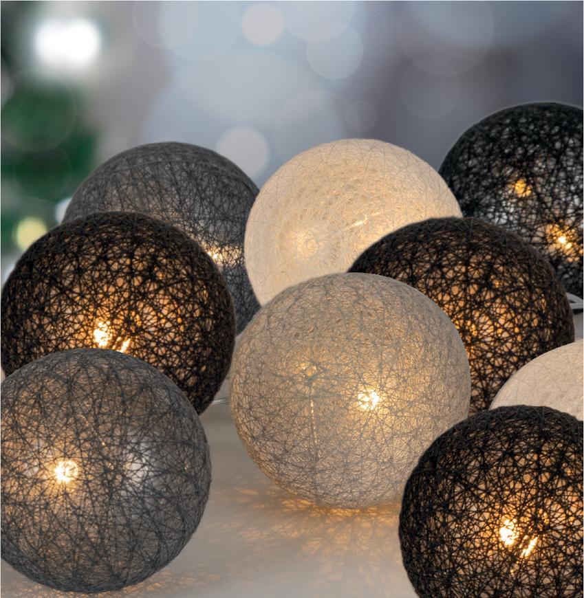 Reťaz MagicHome Cotton Balls 3 shades, 10 LED, PE/bavlna, 2xAA, jednoduché svietenie, L-1,35 m
