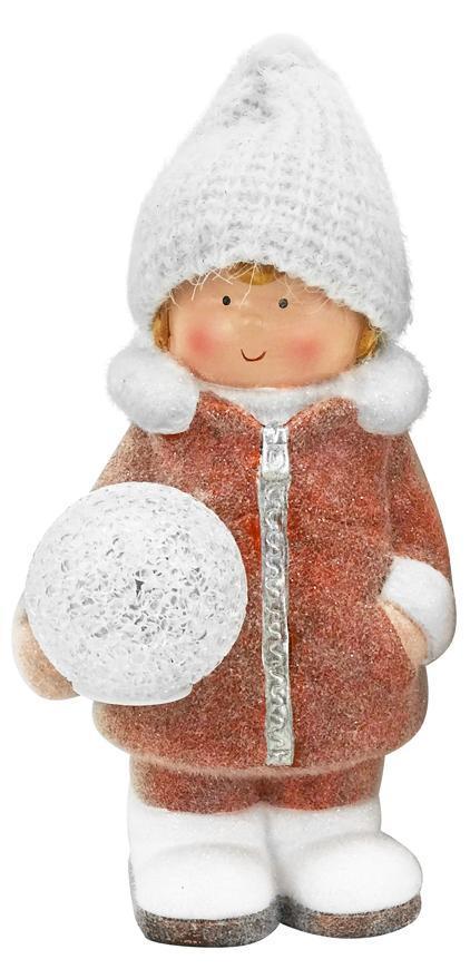 Postavička MagicHome Vianoce, Chlapček so snehovou guľou, 1 LED, 14x13x25 cm