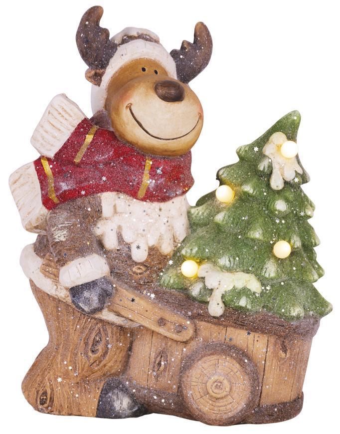 Dekorácia MagicHome Vianoce, Sobík s vozíkom, 4 LED, 3xAA, keramika, 33,50x24x43 cm