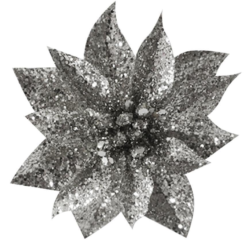 Kvet GlitterPoinsettia, so štipcom, strieborný, 9x8cm, 6 ks