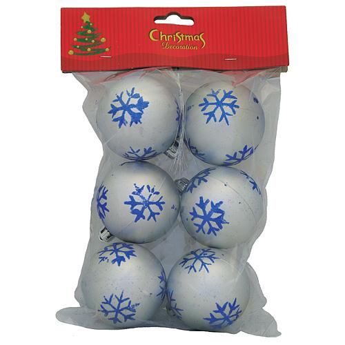 Gule MagicHome Vianoce, 6 ks, strieborné s modrými vločkami, 6 cm
