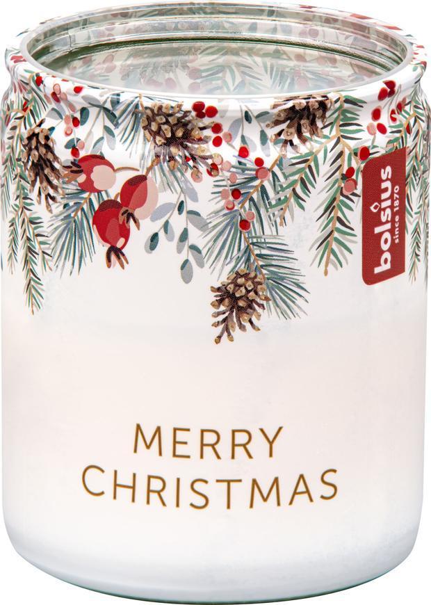 Sviečka Bolsius Starlight Vianočná vetvička, v skle, 23 hod., 68x82 mm