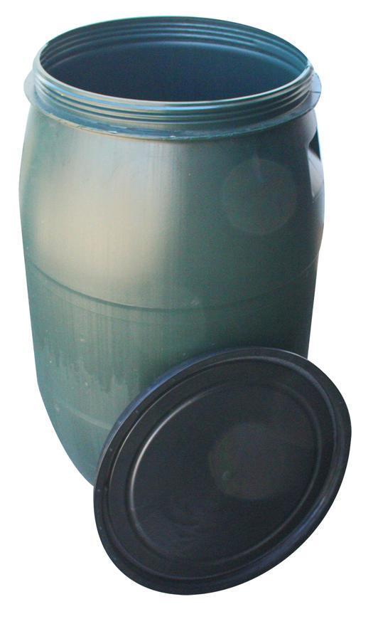Barel Pannon Rainbarel, 220 lit, 471 mm, zelený, HDPE, veko, so závitom