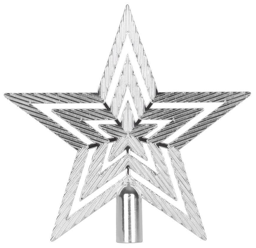 Ozdoba MagicHome Vianoce, 1 ks, 19,5 cm, hviezda, strieborná, na vianočný stromček