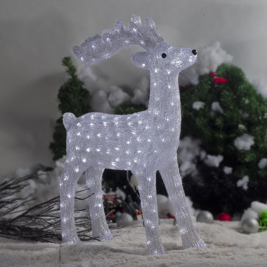 Dekorácia MagicHome Vianoce, Jeleň, 160 LED studená biela, akryl, IP44, exteriér, 52x24x74 cm