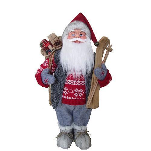 Dekorácia MagicHome Vianoce, Santa stojaci, s lyžami, 45 cm