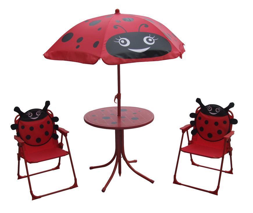 Set LEQ MELISENDA Mariquita, lienka, slnečník 105 cm, stôl 50 cm, 2 stoličky