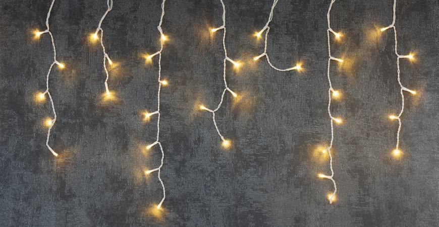Reťaz MagicHome Vianoce Icicle, 100 LED teplá biela, MULTI CONNECT, cencúľová, jednoduché svietenie,