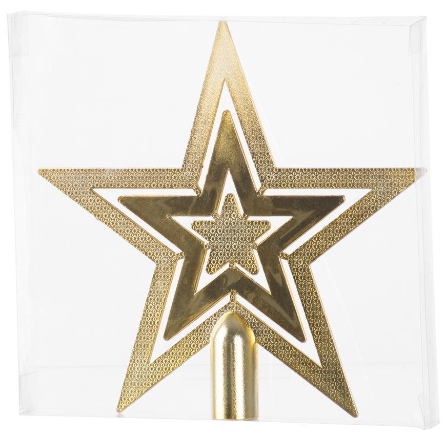Ozdoba MagicHome Vianoce, 1 ks, 20 cm, hviezda, zlatá, na vianočný stromček