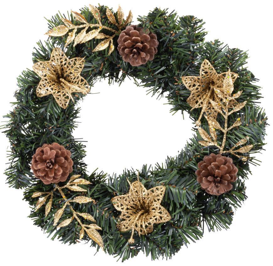 Veniec MagicHome Vianoce, prírodný, bronzový, 30 cm