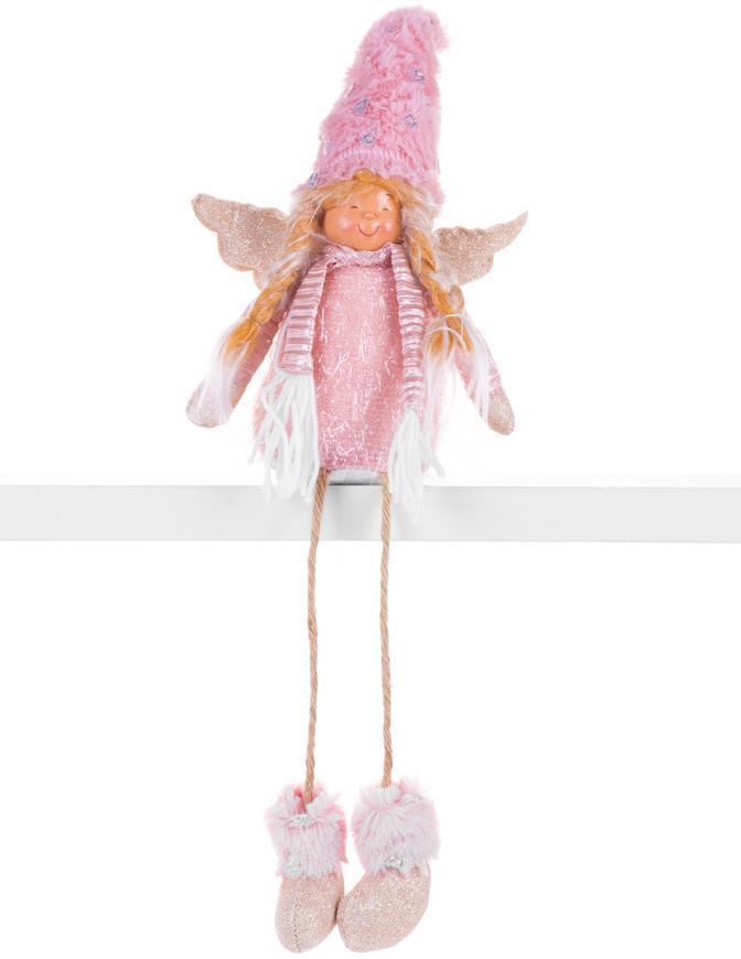 Postavička MagicHome Vianoce, Anjelik s blond vrkočmi, látkový, ružovo-hnedý, 17,50x10x52 cm