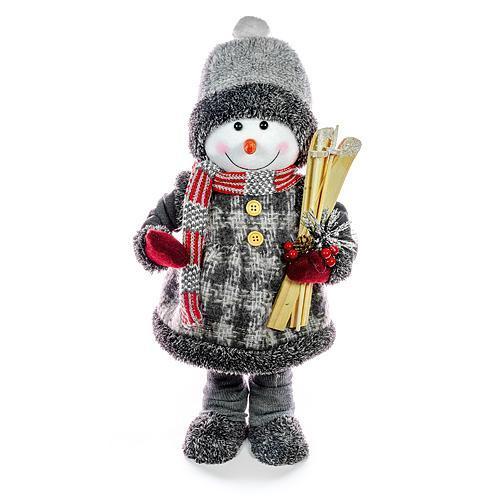 Dekorácia MagicHome Vianoce, Snehuliak dievča s lyžami, 50 cm