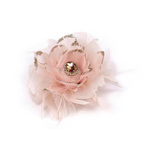 Kvet MagicHome Vianoce, so štipcom, páperový, ružový, 11 cm