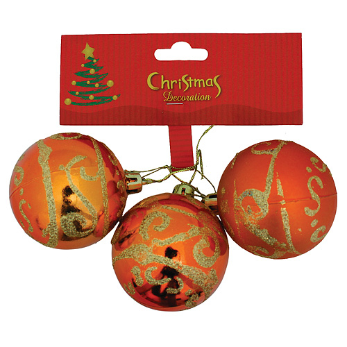 Gule MagicHome Vianoce, 3 ks, medené so zlatým ornamentom, 5 cm