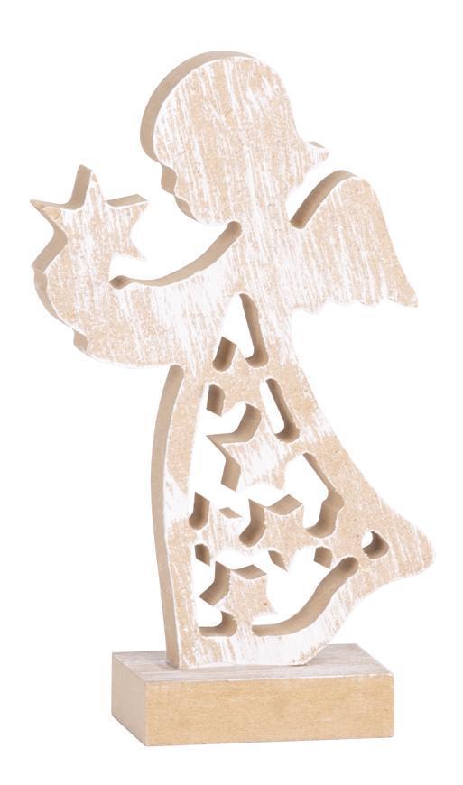 Dekorácia MagicHome Vianoce Woodeco, Anjelik, bal. 5 ks, 9x16 cm