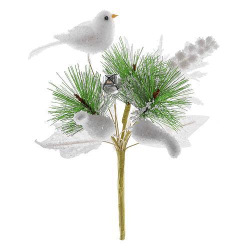 Vetvička s vtáčikom, biela 18cm, 6 ks