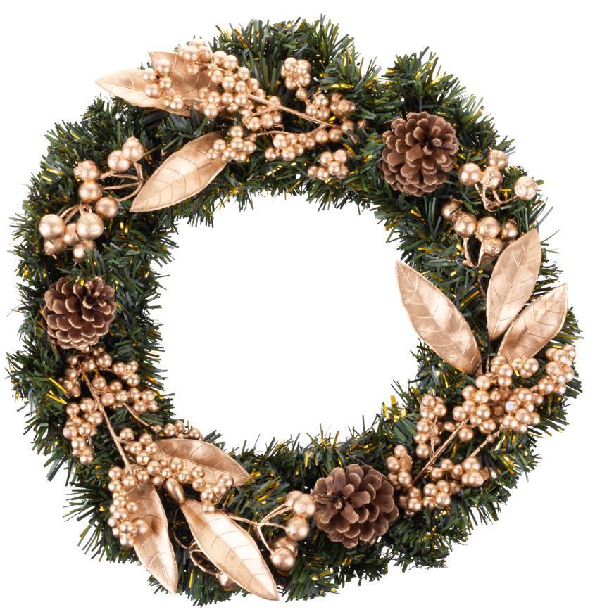 Veniec MagicHome Vianoce, prírodný, bronzový, 35 cm