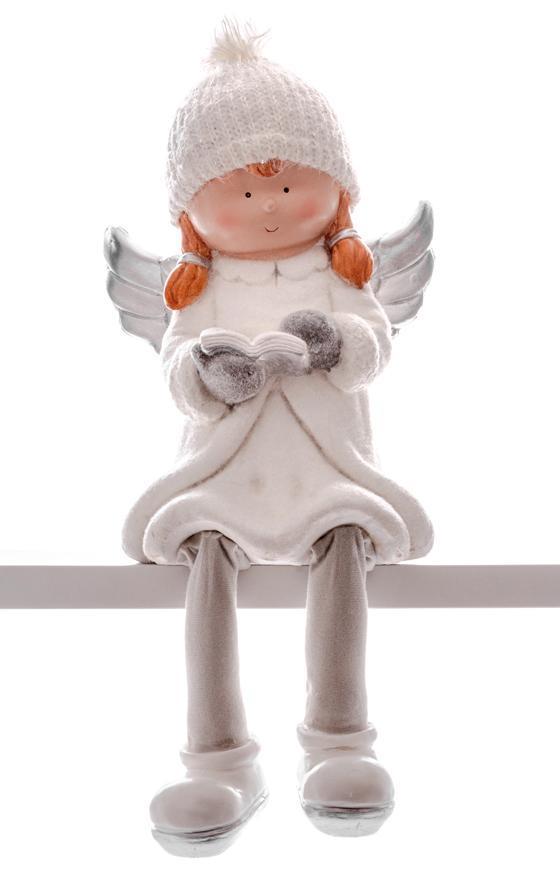Postavička MagicHome Vianoce, Anjel s knihou, keramika, 22x20x32,50 cm