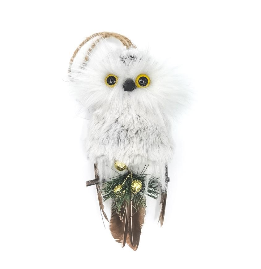 Sova MagicHome Vianoce, biela, 18x8x6 cm