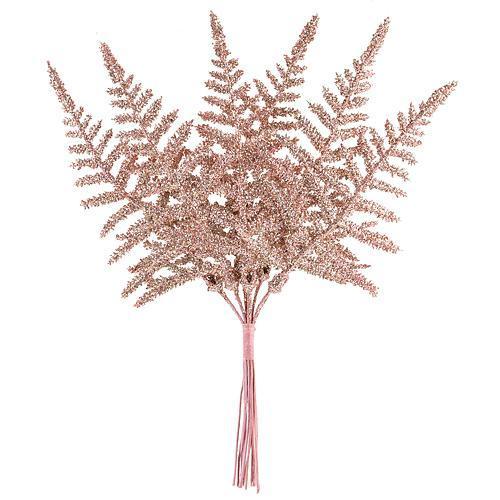 Vetvička papraď, ružové zlato 19cm, 6 ks