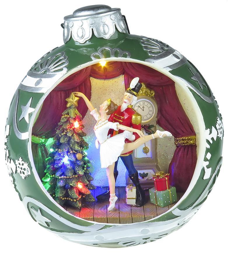 Dekorácia MagicHome Vianoce, Balet v guli, 7 LED, farebná, s melódiami, 3xAA, interiér, 30,50x26,50x