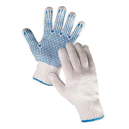 Rukavice PLOVER 10, pletené, polyester, PVC terčíky, s blistrom