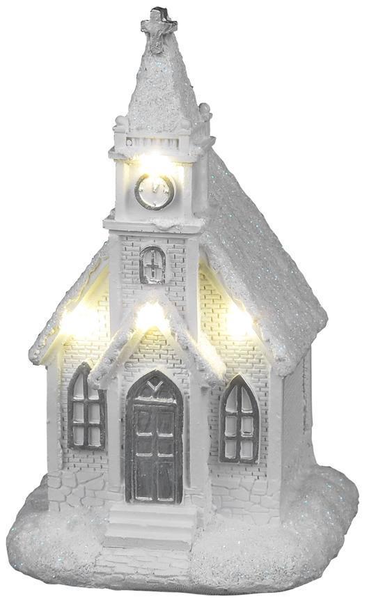 Dekorácia MagicHome Vianoce, Kostol biely, 4 LED teplá biela, 2xAAA, interiér, 10x9x17 cm