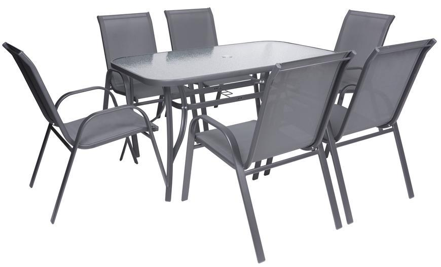 Set terasový ANTOINE, 1x stôl, 6x stolička, ShadowGray