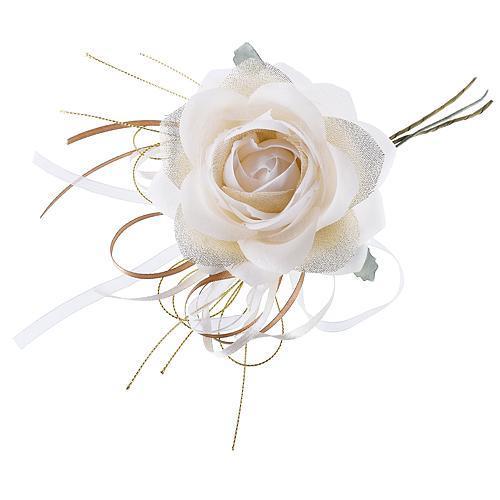 Kvet ruža, krémová, stonka, bal. 6 ks