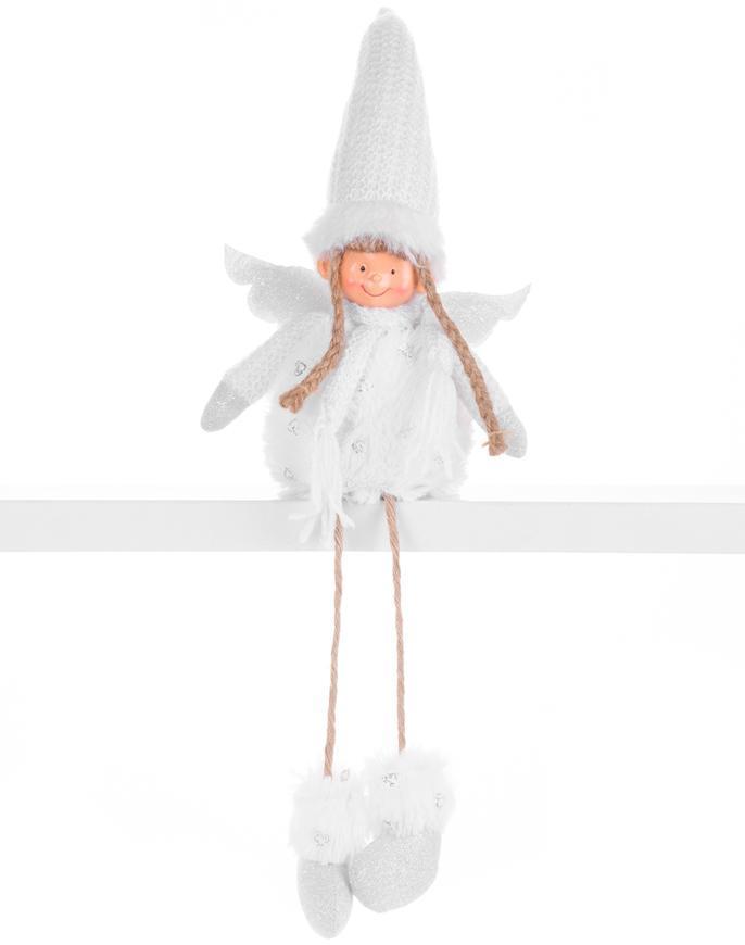 Postavička MagicHome Vianoce, Anjelik s krídlami, látkový, biely, 17,50x10x52 cm