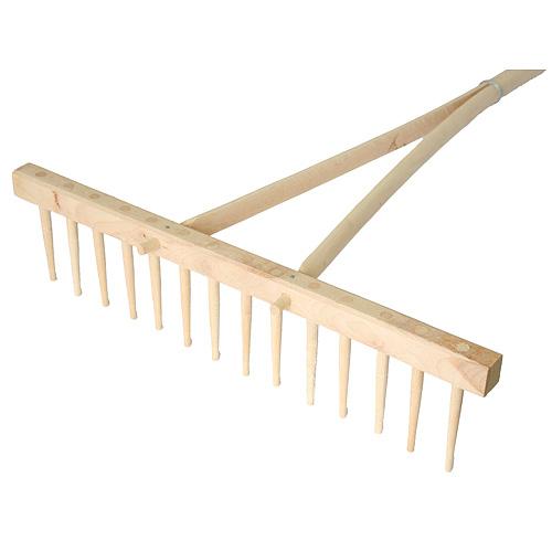 Hrable drevené 16 zubé, s násadou
