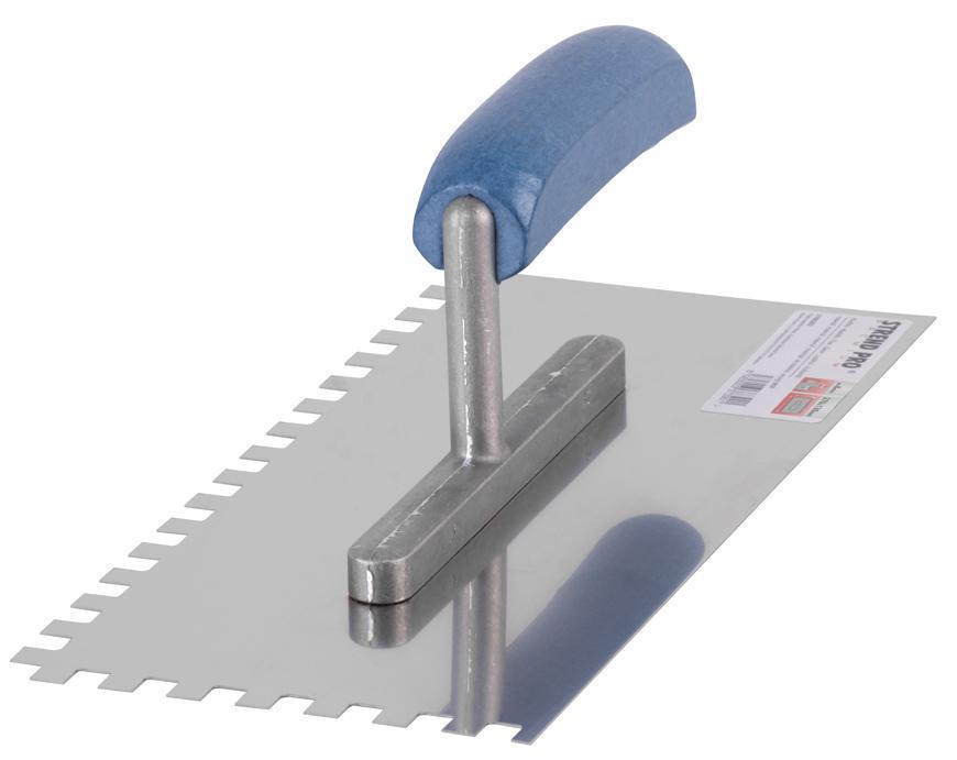Hladítko Strend Pro Premium, 270x130 mm, e08x08 mm, nerezové, s drev. rúčkou
