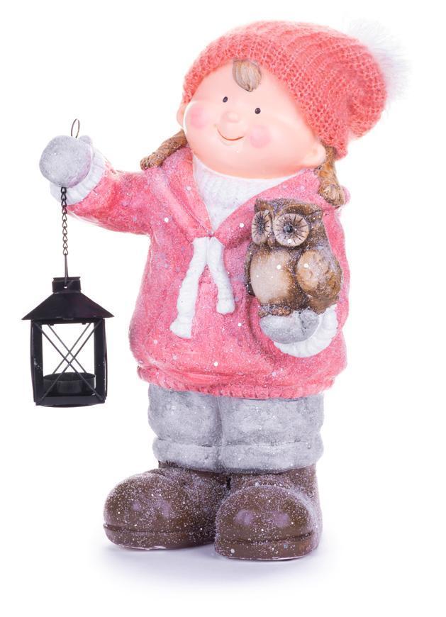 Postavička MagicHome Vianoce, Dievčatko s lampášom a sovičkou, keramika, 28x18,5x39,5 cm