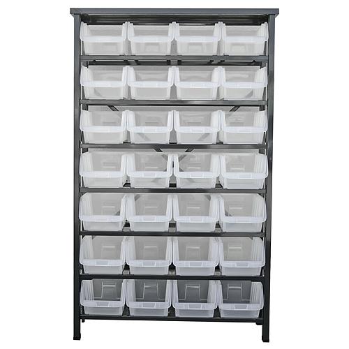 Stojan s plastovými boxami HL3205, 28 zásobníkov, 94x30x150 cm